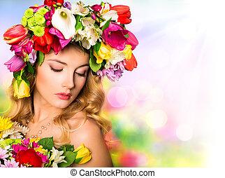 primavera, retrato, beleza, penteado