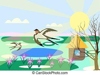 primavera, rondini, paesaggio