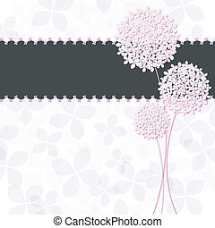 primavera, rosa, púrpura, hydrangea, flor, tarjeta de felicitación