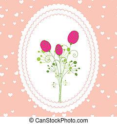 primavera, rosa, scheda rossa, augurio