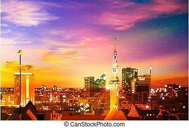 primavera, rosa, tallinn, astratto, panorama, fondo, tramonto, oro