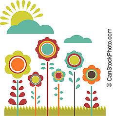 primavera, sale;, flor, campo