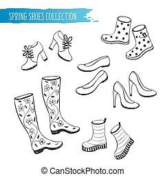primavera, scarpe, collezione