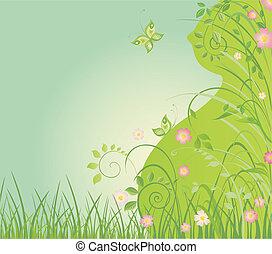 primavera, scheda, con, donna incinta, pro