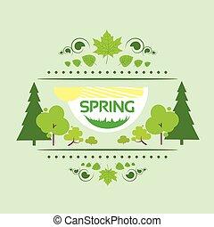primavera, scheda regalo, bandiera, albero verde, vettore