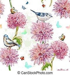 primavera, seamless, acuarela, crisantemo, flowers.,...