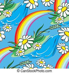 primavera, seamless, arco íris