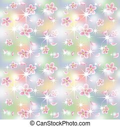 primavera, seamless, illustrazione, fondo, vettore, sakura