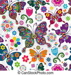 primavera, seamless, padrão