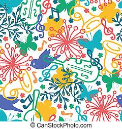primavera, seamless, sinfonía, música, pauta fondo