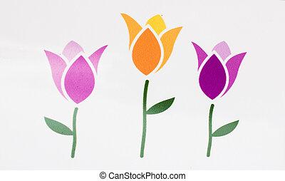primavera, sellos, flor, tulipán