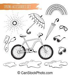 primavera, set, accessori