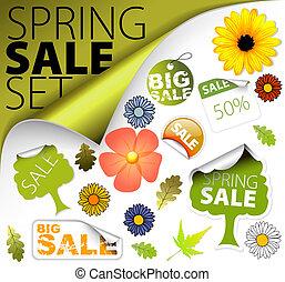 primavera, set, vendita, elementi, fresco