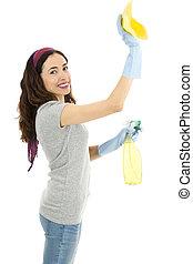primavera, signora, pulizia