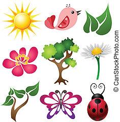 primavera, simbolo, set