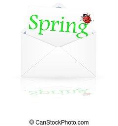primavera, sobre, abierto, inscripción