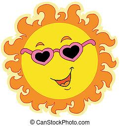 primavera, sol, com, amor, óculos