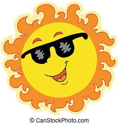 primavera, sole, con, occhiali da sole