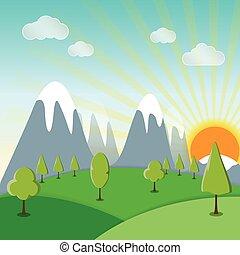 primavera, sole, erba, paesaggio, fondo