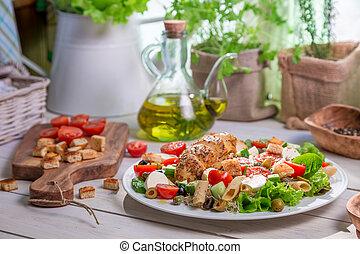 primavera, soleado, ensalada, cocina