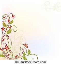 primavera, space., desenho, floral, cópia, cartão