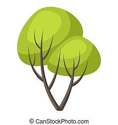primavera, stilizzato, estate, albero, o, verde, leaves.