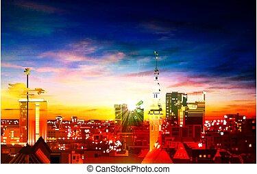 primavera, tallinn, blu, astratto, panorama, sfondo rosso, tramonto