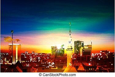 primavera, tallinn, blu, astratto, panorama, sfondo verde, tramonto