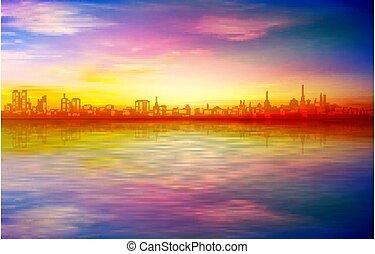 primavera, tallinn, blu, astratto, silhouette, fondo, tramonto