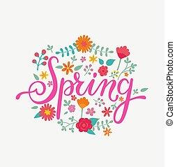 primavera, tarjeta, handdrawn, lettering.