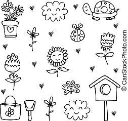primavera, tema, cobrança, doodle