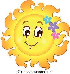 primavera, tema, feliz, sol