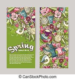 primavera, tema, jogo, bandeiras, vertical