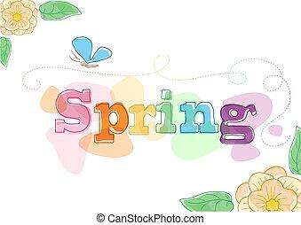primavera, themed, grafico, stagionale