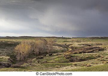 primavera, tormenta, encima, colorado, rancho