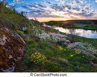 primavera, tramonto, sopra, fiume
