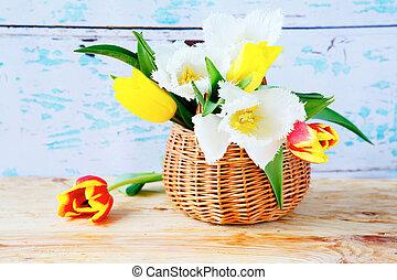 primavera, tulips, em, um, cesta, flores