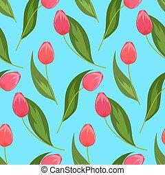 primavera, tulips., seamless, flowers., modello, fondo