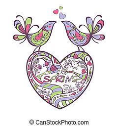 primavera, uccelli, cuore