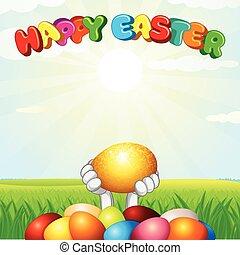 primavera, uova, coniglietto pasqua, paesaggio