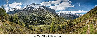 primavera, valle, tempo, montagna