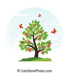 primavera, vector, árbol, ilustración