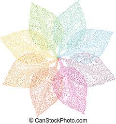 primavera, vector, colorido, hojas