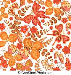 primavera, (vector, seamless, eps, farfalle, fragole, modello, floreale, fiori, 10).