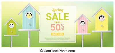 primavera, venda, bandeira, com, pequeno, pássaros, em, coloridos, birdhouses, 1