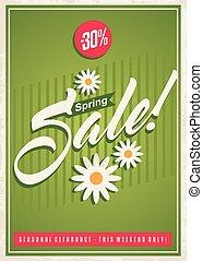primavera, venda, desenho, retro, modelo, cartaz