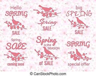 primavera, vendita, etichette, con, fiore ciliegia, fondo, e, uccelli