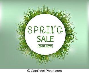 primavera, venta, plano de fondo, con, hierba verde, para, su, design., vector