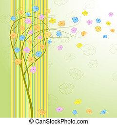 primavera, vento, árvore, com, flowers.