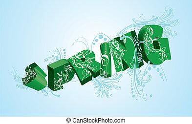 primavera, verde, 3d, parola, su, blue., vettore, illustration.